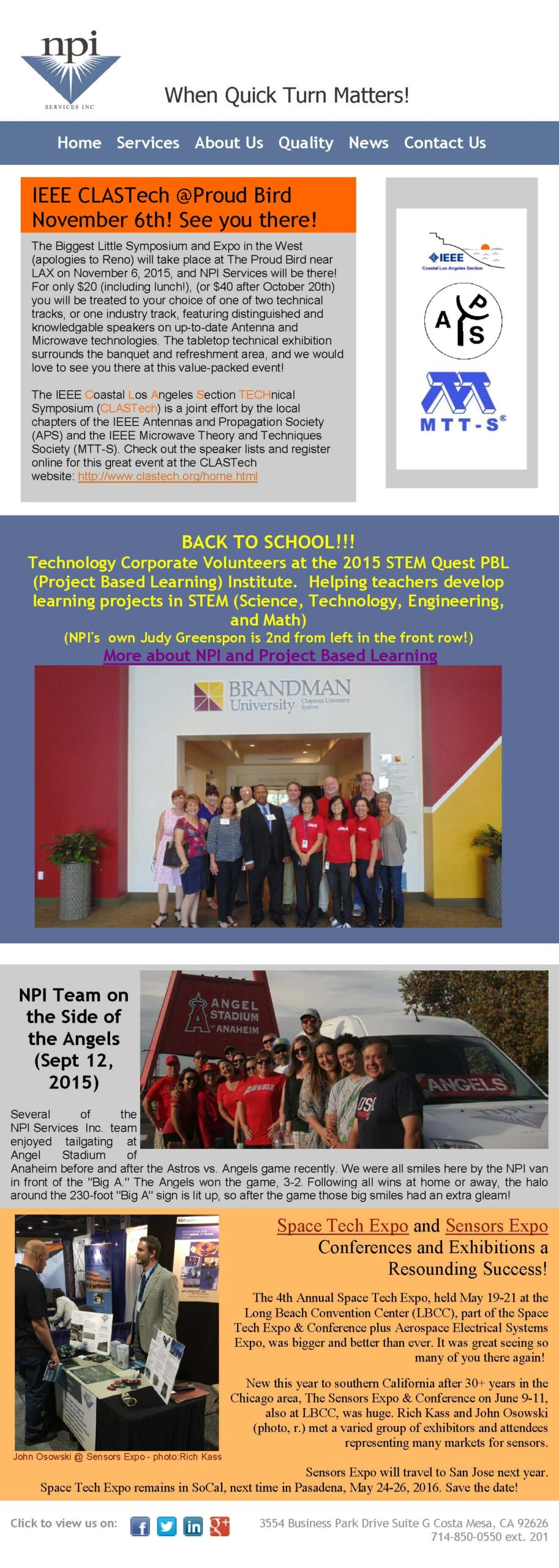 NPI at IEEE CLASTech Space Tech Expo Sensors Expo STEM Quest PBL and Angel Stadium scaled